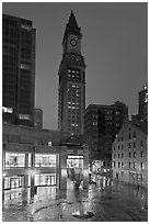 Custom House Tower and  Faneuil Hall marketplace at night. Boston, Massachussets, USA ( black and white)