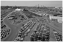 Cars lined up in shipping harbor. Boston, Massachussets, USA (black and white)