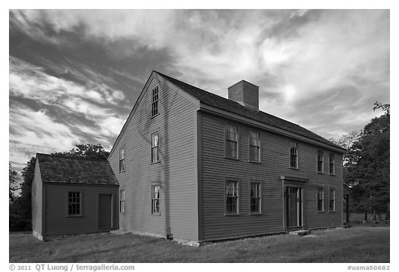 Historic Samuel Brooks House, Minute Man National Historical Park. Massachussets, USA (black and white)