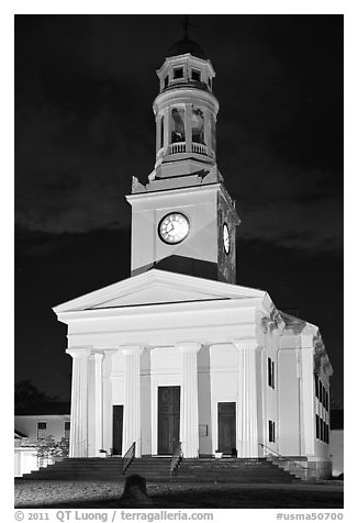 First Parish at night, Concord. Massachussets, USA (black and white)