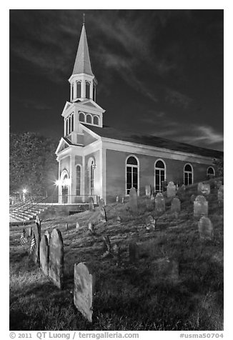 Cemetery and church at night, Concord. Massachussets, USA (black and white)