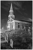 Cemetery and church at night, Concord. Massachussets, USA ( black and white)