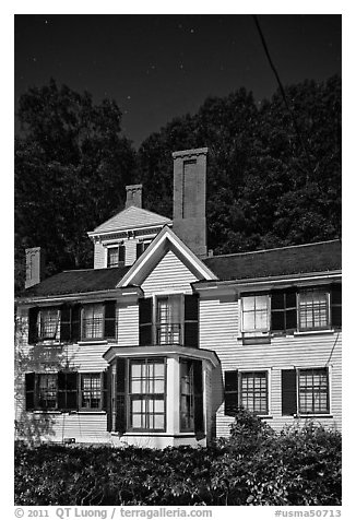 Wayside, home to Louisa May Alcott, Nathaniel Hawthorne, and Margaret Sidney.. Massachussets, USA (black and white)