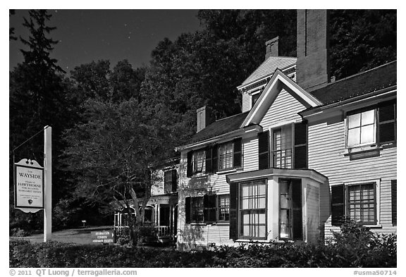 Wayside authors house and sign. Massachussets, USA (black and white)