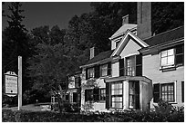 Wayside authors house and sign. Massachussets, USA ( black and white)