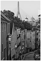 Steep stret on Breeds Hill, with bridge in background, Charlestown. Boston, Massachussets, USA ( black and white)