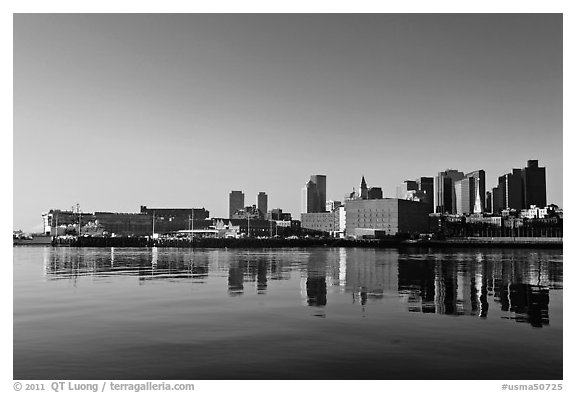 Boston Skyline across Charles River, sunrise. Boston, Massachussets, USA (black and white)