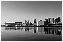 Boston Skyline across Charles River, sunrise. Boston, Massachussets, USA ( black and white)
