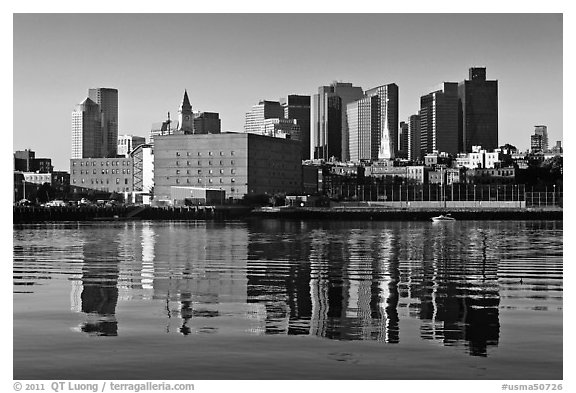 North End and Boston Skyline. Boston, Massachussets, USA (black and white)