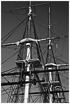 Masts of USS Constitution. Boston, Massachussets, USA (black and white)