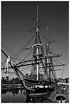 USS Constitution frigate. Boston, Massachussets, USA (black and white)