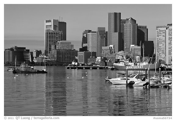 Boston harbor and skyline. Boston, Massachussets, USA (black and white)