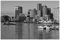 Boston harbor and skyline. Boston, Massachussets, USA ( black and white)