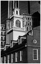 Old State House and modern buildings in downtown. Boston, Massachussets, USA (black and white)