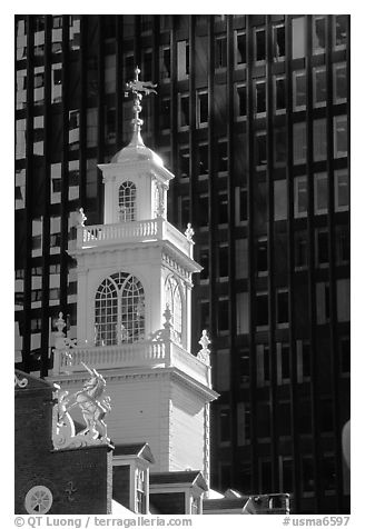 Old State House (oldest public building in Boston) and glass facade. Boston, Massachussets, USA (black and white)