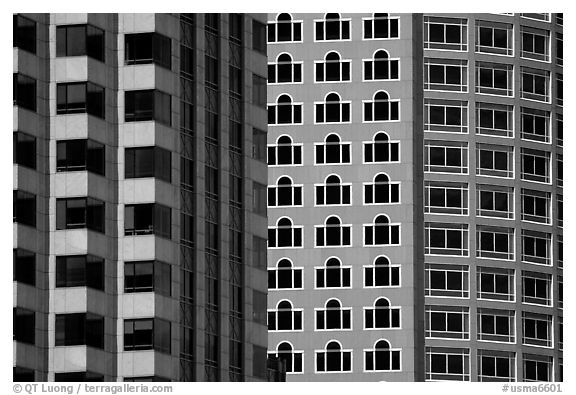 Detail of high rise buildings. Boston, Massachussets, USA (black and white)