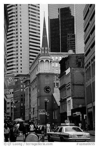 Downtown commercial street. Boston, Massachussets, USA (black and white)