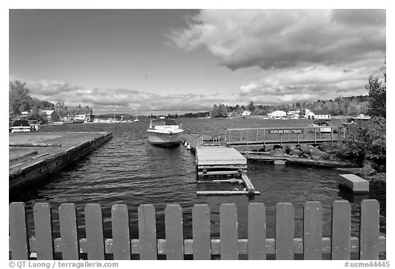 Harbor on shores of Moosehead Lake, Greenville. Maine, USA (black and white)