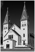 White church with double bell towers, Greenville. Maine, USA ( black and white)