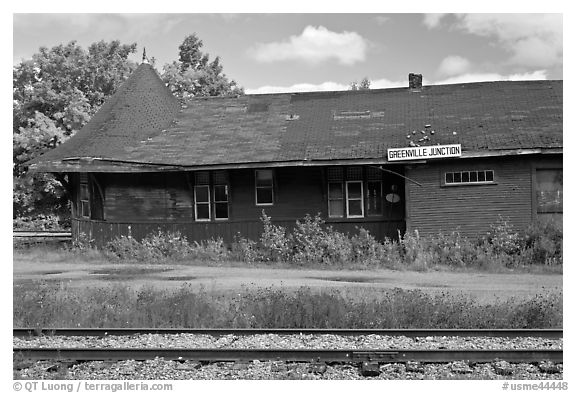 Abandonned railroad station, Greenville Junction. Maine, USA (black and white)