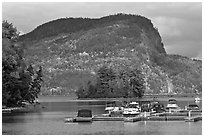 Mount Kineo seen across Moosehead Lake, Rockwood. Maine, USA ( black and white)