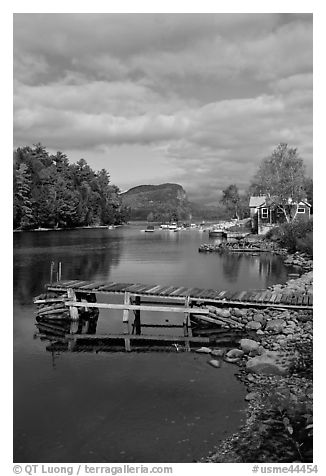 Deck, Moose River, Rockwood. Maine, USA (black and white)