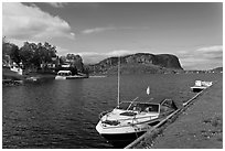 Moosehead Lake marina and  Mount Kineo. Maine, USA ( black and white)