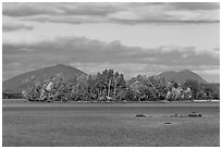 Deer Island on Moosehead Lake, afternoon. Maine, USA ( black and white)