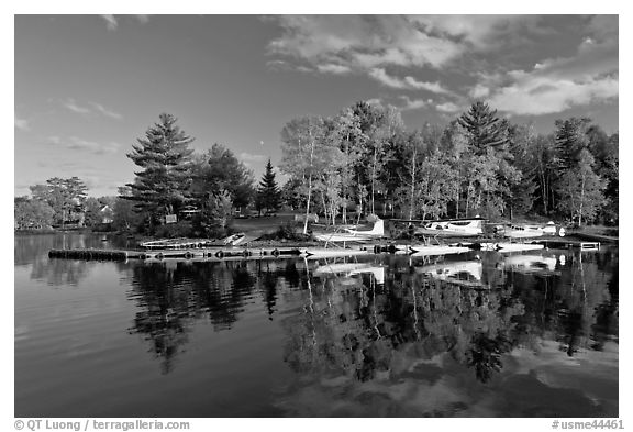 Seaplanes and autumn foliage, West Cove, late afternoon, Greenville. Maine, USA (black and white)