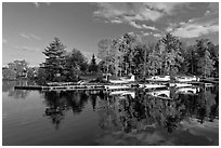 Seaplanes and autumn foliage, West Cove, late afternoon, Greenville. Maine, USA ( black and white)