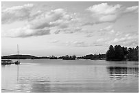 Moosehead Lake, sunset, Greenville. Maine, USA ( black and white)