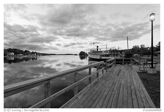 Marina with Katahdin steamer at sunset, Greenville. Maine, USA (black and white)