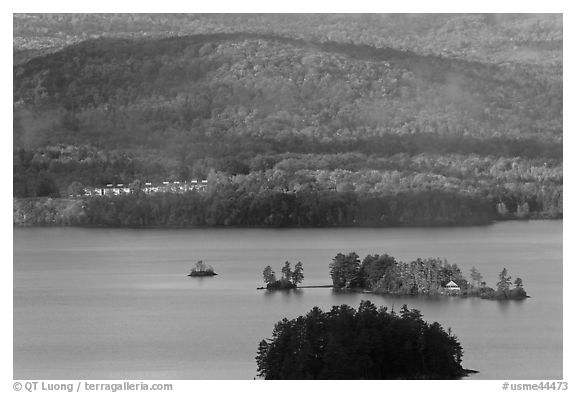 Islets, Moosehead Lake. Maine, USA (black and white)