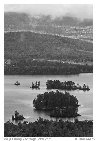 Islets and mountain slopes with fall foliage. Maine, USA (black and white)