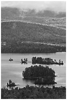 Islets and mountain slopes with fall foliage. Maine, USA ( black and white)