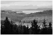 Beaver Cove and Lilly Bay in the distance. Maine, USA ( black and white)