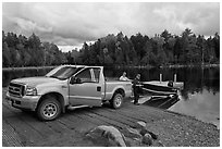 Boat loaded at ramp, Lily Bay State Park. Maine, USA ( black and white)