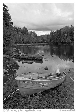 Small boat and cove, Lily Bay State Park. Maine, USA (black and white)