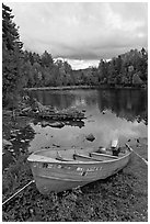 Small boat and cove, Lily Bay State Park. Maine, USA ( black and white)