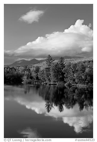 Cloud-capped Katahdin range and water reflections in autumn. Baxter State Park, Maine, USA (black and white)