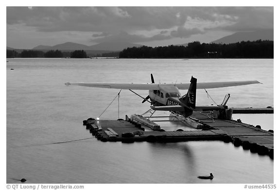Floatplane at dusk, Ambajejus Lake. Maine, USA (black and white)