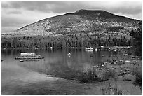 South Turner Mountain reflected in Sandy Stream Pond in autumn. Baxter State Park, Maine, USA ( black and white)