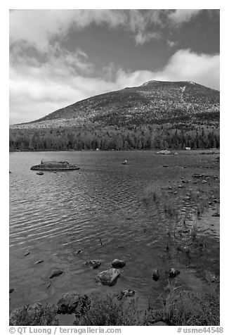 Forested mountain with fall foliage and pond. Baxter State Park, Maine, USA (black and white)
