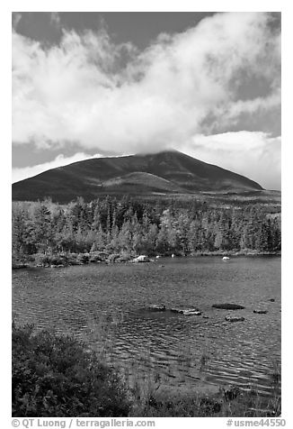 Clouds, mountain, and pond in autumn. Baxter State Park, Maine, USA (black and white)
