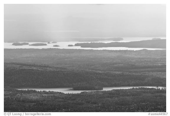 Distant lakes and forests. Baxter State Park, Maine, USA (black and white)