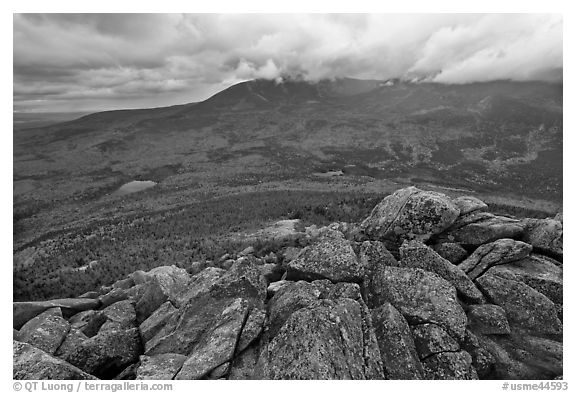 Katahdin and forests seen from South Turner Mountain. Baxter State Park, Maine, USA (black and white)