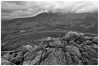 Katahdin and forests seen from South Turner Mountain. Baxter State Park, Maine, USA ( black and white)