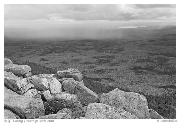 Moving rain front seen from South Turner Mountain. Baxter State Park, Maine, USA (black and white)