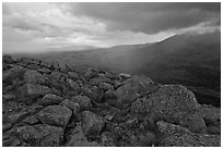 Landscape with rain from South Turner Mountain. Baxter State Park, Maine, USA (black and white)