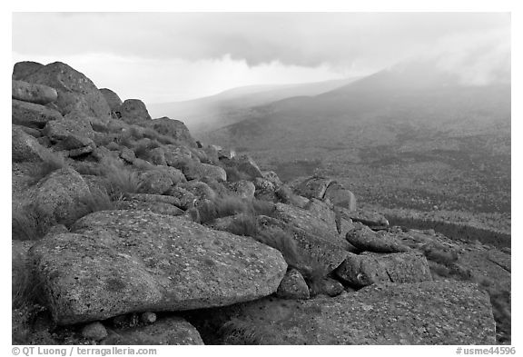 Boulders and rain showers, from South Turner Mountain. Baxter State Park, Maine, USA (black and white)